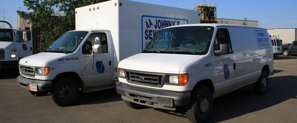 AA Johnny's Sewer & Drain Cleaning Service Ltd service vehicles